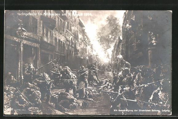 AK Mühlhausen, Nachtgefecht am 9. August 1914, Infanterie im Strassenkampf