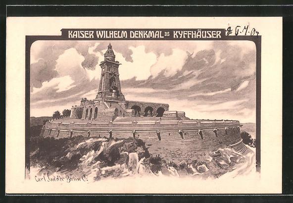 Künstler-AK Carl Jander: Kyffhäuser, Kaiser Wilhelm-Denkmal