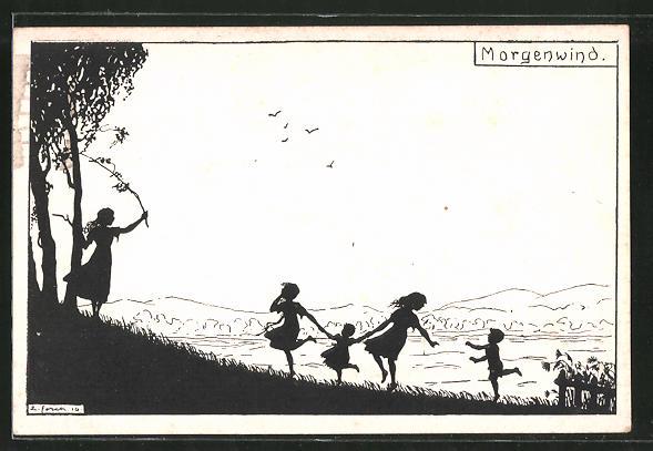 Künstler-AK Elsbeth Forck: Morgenwind, Kinder im Freien, Schattenriss