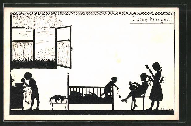 Künstler-AK Elsbeth Forck: Guten Morgen!, Kinderzimmer, Schattenriss