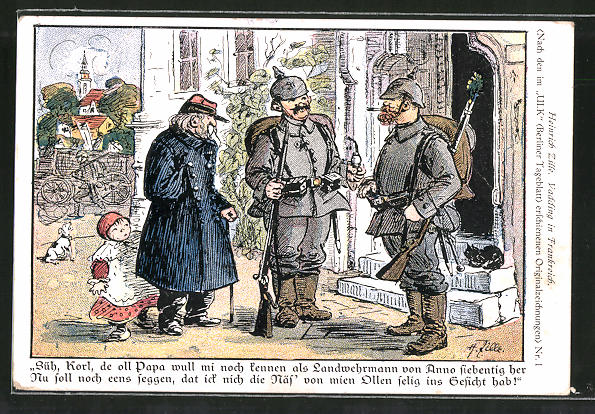 Künstler-AK Heinrich Zille: Vadding in Frankreich, Süh, Korl, de oll Papa wull mi noch kennen..., Soldatenhumor