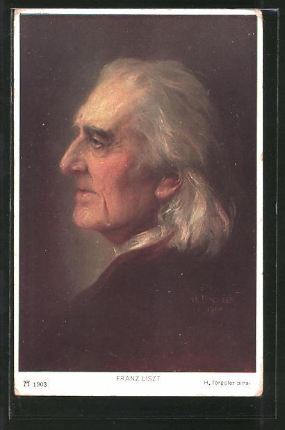 Künstler-AK Hermann Torggler: Franz Liszt, Profilportrait