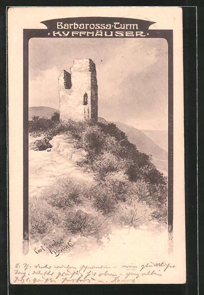 Künstler-AK Carl Jander: Barbarossa-Turm auf dem Kyffhäuser