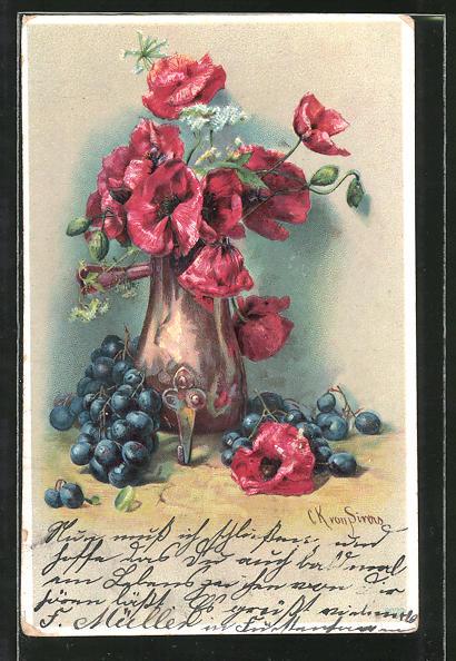 Künstler-AK Clara von Sivers: Stilleben mit Mohnblumen und Weintrauben