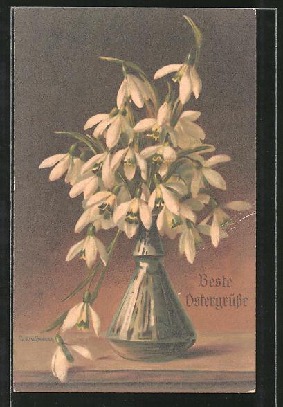 Künstler-AK Clara von Sivers: Schneeglöckchen in der Vase