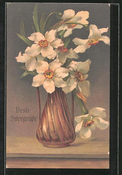 Künstler-AK Clara von Sivers: Blumenvase mit weissen Blüten
