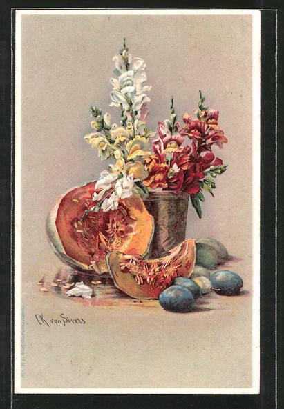 Künstler-AK Clara von Sivers: Stilleben mit Kürbis, Pflaumen & Blumenvase