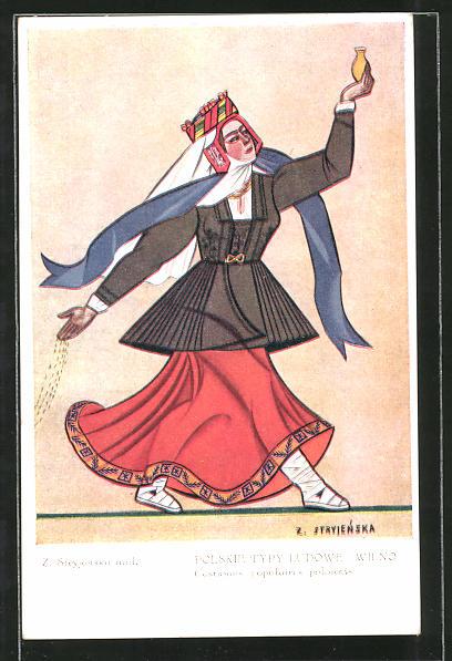 Künstler-AK Zofia Stryjenska: Polskie Typy Ludowe: Wilno, polnische Tracht