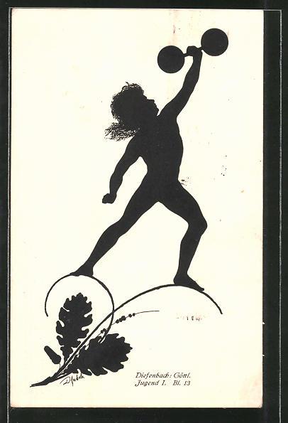 Künstler-AK Diefenbach: Göttl. Jugend I. Bl. 13: Junge stemmt eine Hantel, Schattenbild