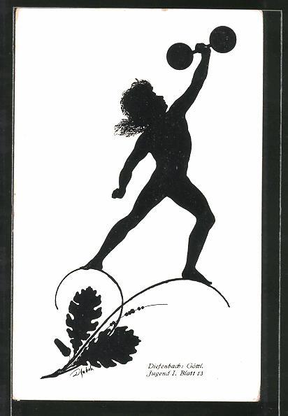 Künstler-AK Diefenbach: Göttl. Jugend I. Blatt 13: Junge stemmt die Hantel in die Luft, Schattenbild