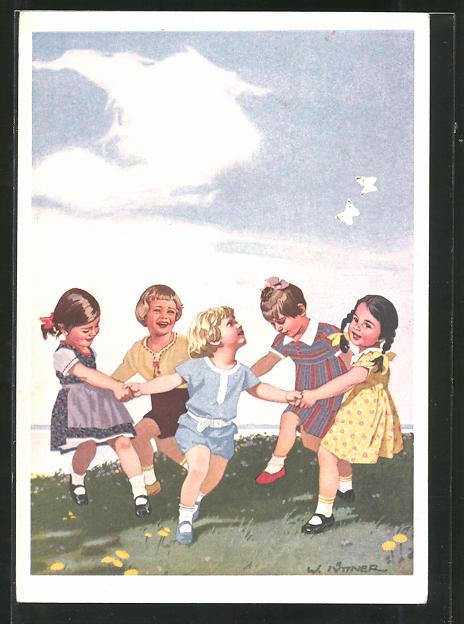 Künstler-AK W.I.: Kinder tanzen fröhlich auf der Wiese, Reklame für Indanthren Stoffe
