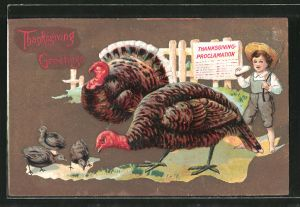 Präge-AK Thanksgiving Greetings, Truthahn mit Küken