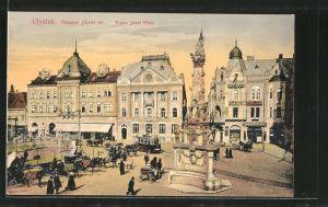 AK Ujvidék, Franz Josef Platz mit Strassenbahn