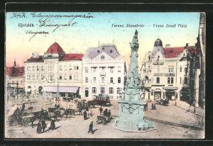 AK Ujvidék, Franz Josef Platz, Totale mit Strassenbahn