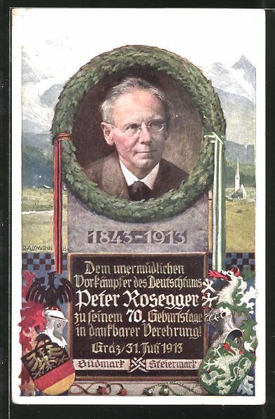 Künstler-AK Richard Assmann: Portrait des Schriftstellers und Vorkämpfer des Deutschtums Peter Rosegger