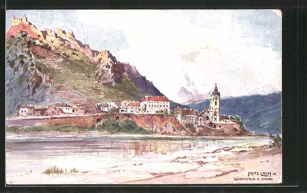 Künstler-AK Fritz Lach: Blick auf Dürstein an der Donau