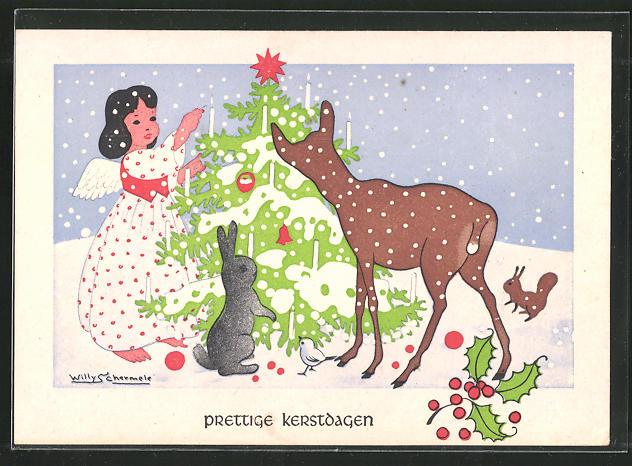 Künstler-AK Willy Schermele: Kleiner Engel mit Reh, Hase, Vogel und Eichhörnchen am Weihnachtsbaum im Wald