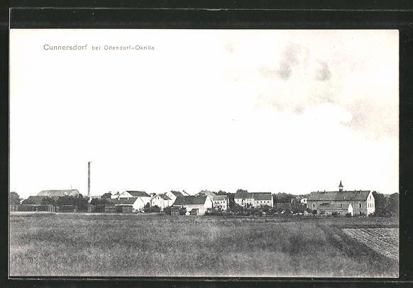 AK Cunnersdorf, Ortsansicht aus der Ferne