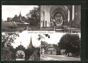 AK Rieste, Ansichten der Kirche mit Innenansicht, Gaststätte Kramer