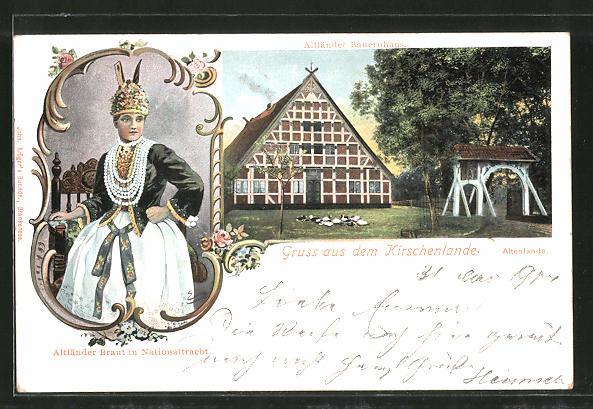 AK Jork, Altländer Bauernhaus, Altländer Braut in Nationaltracht