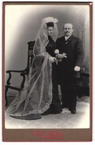 Fotografie Karl Mäckel, Burgstädt, Portrait Braut und Bräutigam