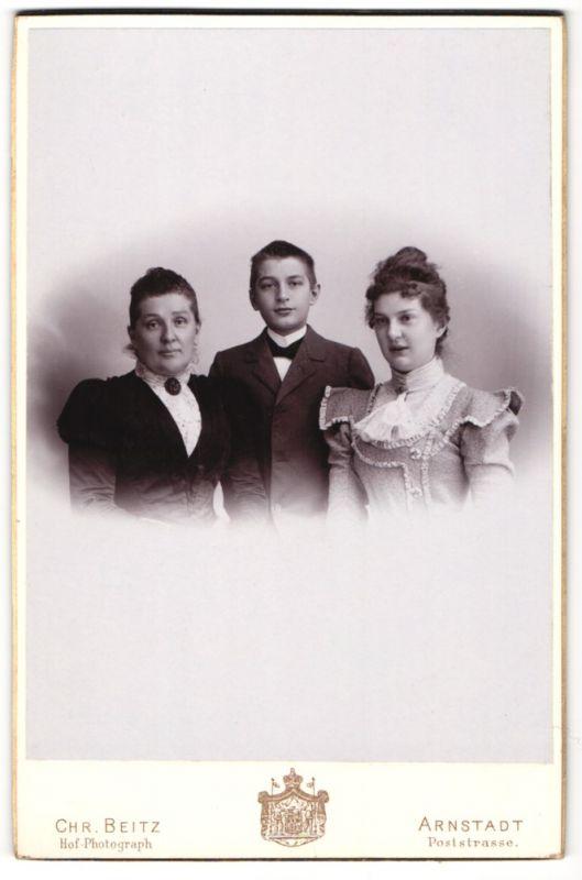 Fotografie Chr. Beitz, Arnstadt, Portrait Mutter mit Tochter und Sohn
