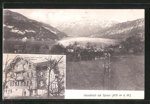 AK Hondrich, Hotel-Pension Hirschen, Ortspanorama mit Gebirge