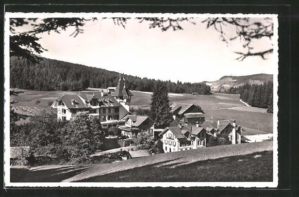 AK Schlegwegbad, Ortsansicht vom Hügel aus