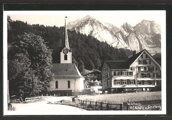 AK Wildhaus, Strassenpartie an der Ref. Kirche