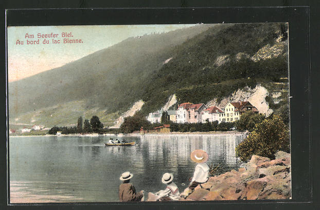 AK Biel /Bienne, Partie am Seeufer, au bord du lac