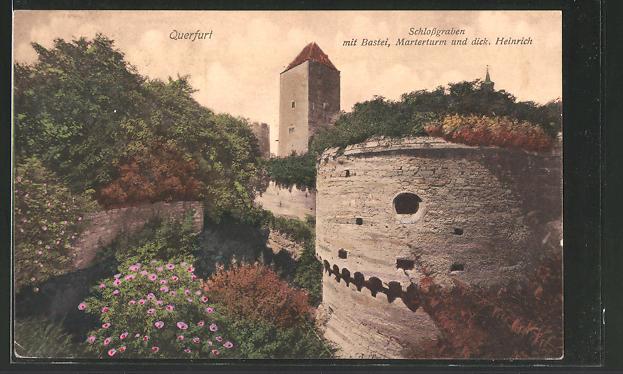 AK Querfurt, Schlossgraben mit Bastei, Marterturm und dicker Heinrich