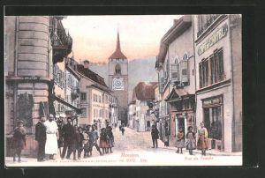 AK Moudon, Rue du Temple mit Café de Chotel