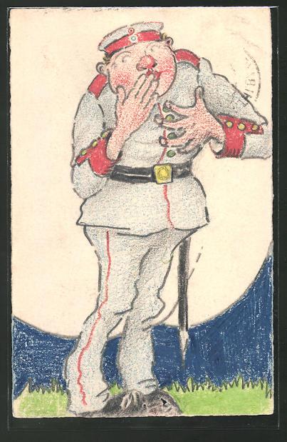 Künstler-AK Soldat hält sich die Hand vor den Mund, Schützengrabenkunst