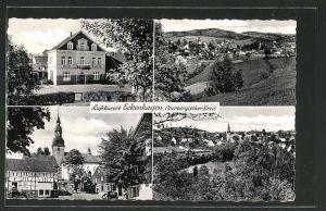 AK Eckenhagen, Hotel Eickhoff, Ortspartie an der Kirche, Totalansichten