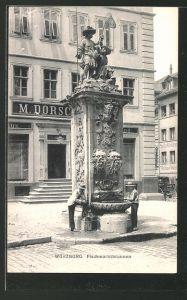 AK Würzburg, Partie am Fischmarktbrunnen