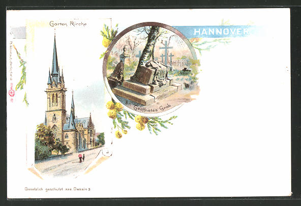 Lithographie Hannover, Garten Kirche, geöffnetes Grab