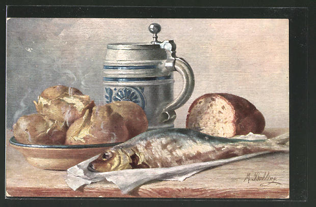 Künstler-AK M. Billing: Stilleben mit Fisch und Bierkrug