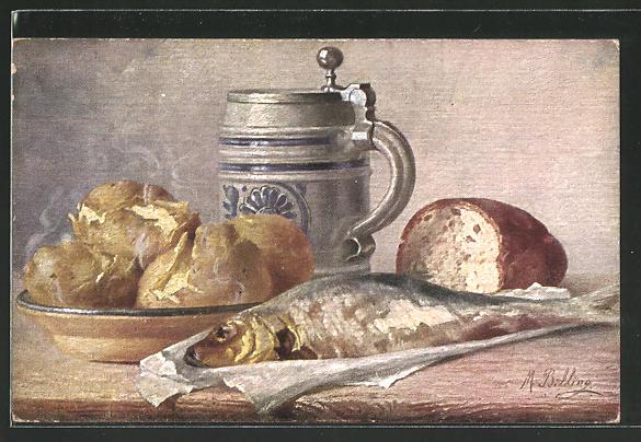 Künstler-AK M. Billing: Stilleben mit Bierkrug und Fisch