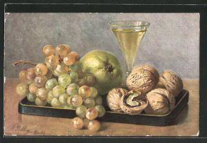 Künstler-AK M. Billing: Stilleben mit Weintrauben und Wallnüssen