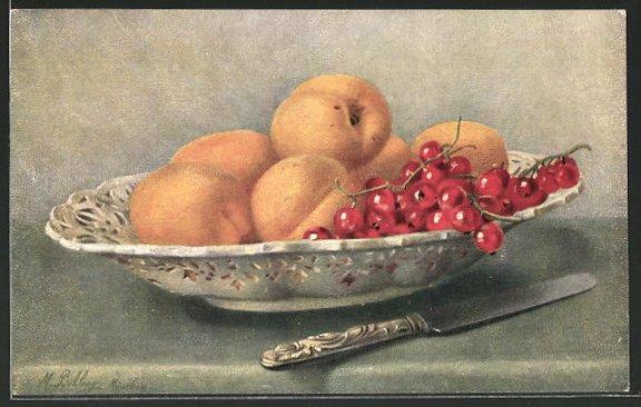 Künstler-AK M. Billing: Stilleben mit Johannisbeeren und Aprikosen