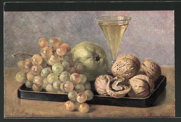 Künstler-AK M. Billing: Stilleben mit Wallnüssen und Weintrauben