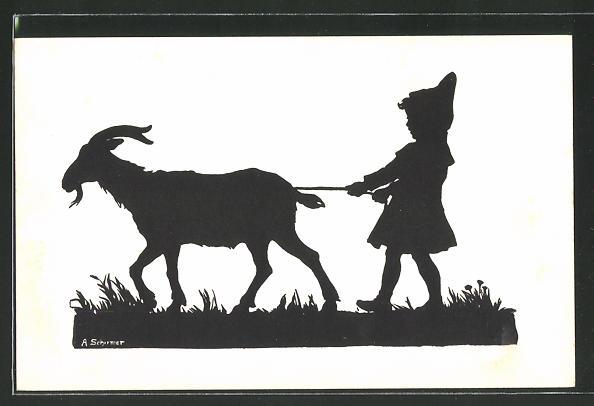 Künstler-AK Anna Schirmer: Kleiner Jung führt den Ziegenbock an der Leine