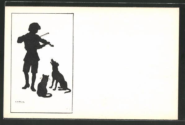 Künstler-AK Carus: Junge mit Geige musiziert für Katze & Hund