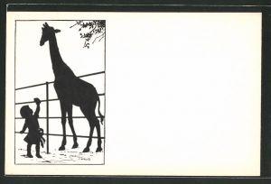 Künstler-AK Carus: kleines Mädchen reicht einer Giraffe etwas, Schattenbild