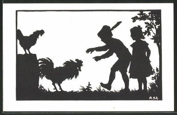 Künstler-AK Anna Schirmer: Junge will Hahn fangen, Schattenbild