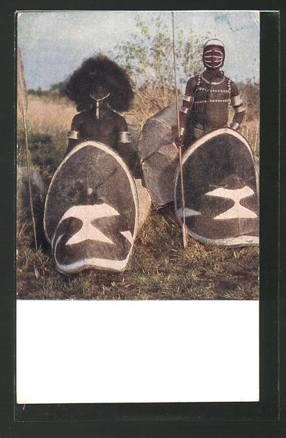 AK Afrikanische Ureinwohner mit Schild und Lanze