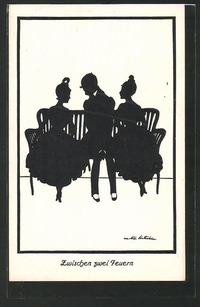 Künstler-AK Ov. Alt-Stutterheim: Junger Mann zwischen zwei hübschen Damen