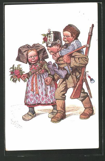 Künstler-AK Emil Beithan: Soldat in Uniform trägt seinen Sohn Huckepack bei seiner Heimkehr