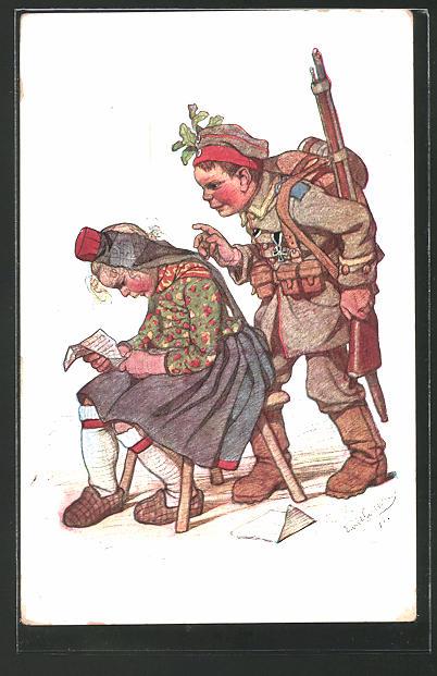 Künstler-AK Emil Beithan: Soldat in Uniform überrascht seine Frau mit seiner Heimkehr