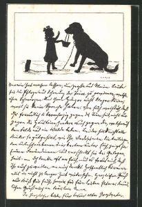 Künstler-AK Carus: Kleines Mädchen möchte das der Hund das Körbchen trägt